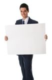 Man with cardboard Stock Photo