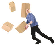 Man and cardboard. Man with cardboard is stumbled on a white Royalty Free Stock Image