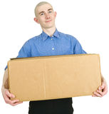 Man and cardboard Royalty Free Stock Image