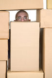 Man and cardboard boxes;stock-man;stockman Royalty Free Stock Photo
