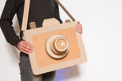A man with a cardboard camera Stock Photography