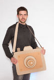 A man with a cardboard camera Royalty Free Stock Photos
