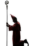 Man cardinal bishop silhouette Royalty Free Stock Photography