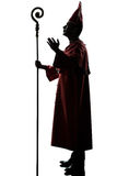 Man cardinal bishop silhouette saluting blessing Stock Images