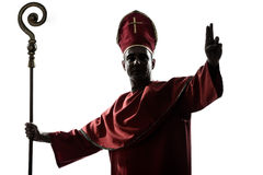 Man cardinal bishop silhouette saluting blessing Stock Photography
