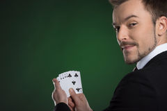 Man with cards. Royalty Free Stock Photo