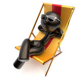 Man carefree beach deck chair chilling relaxing stylized icon. Man carefree beach deck chair chilling relaxing stylized sunglasses summer outdoor comfort cartoon Royalty Free Stock Images