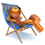 Man carefree relaxing chilling beach deck chair outdoor icon. Man carefree relaxing chilling beach deck chair sunglasses summer outdoor comfort cartoon stylized Royalty Free Stock Photography