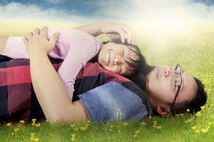 Man caress his daughter on meadow Royalty Free Stock Images