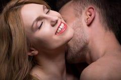 Man caressing woman's neck Stock Photography