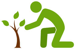 Man caring for little tree vector illustration