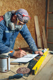 Man carpenter in his home manufactory Royalty Free Stock Photography