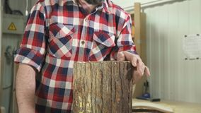 Man carpenter in a shirt with a beard blows shavings in the workshop stock video footage