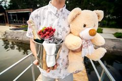 Man carries a bucket of champagne and teddy bear stock image