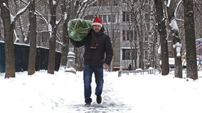 Man carries a Christmas tree packed in a grid just bought at the Christmas market. 4K shot of a middle aged man wearing a red Santa hat carries home a Christmas stock footage