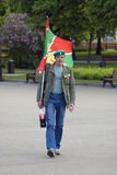 Man carries a flag. Day of the border guard celebration in Moscow Stock Image