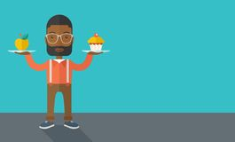Man carries with his two hands cupcake and apple royalty free illustration