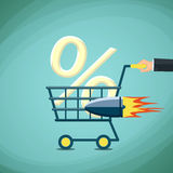Man carries a shopping cart with percentage sign. Stock Vector c. Artoon illustration Royalty Free Stock Photos