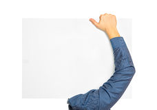 Man carry blank board Stock Photography