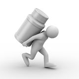 Man carry bottle for tablets Stock Images