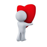 Man carry the broken heart. isolate. 3D. Stock Images