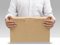 Man carry brown paper box Stock Image