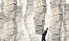 Man carry carton boxes Stock Images
