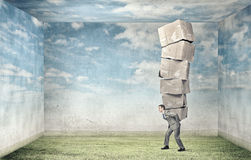 Man carry carton boxes Stock Photo
