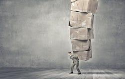 Man carry carton boxes Stock Image
