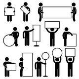 Man Carry Empty Blank Signboard Banner Placard royalty free illustration