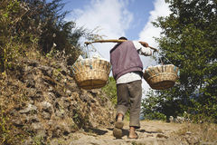 Man carry heavy load in the Himalaya Royalty Free Stock Photos