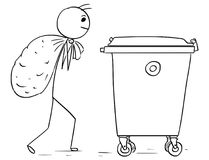Man Carry Large Bag of Waste to Throw it in Waste Container Dump Stock Images