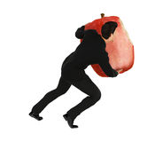 Man Carry Red Bitten Apple Stock Photo