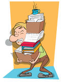 Man carry a stack of files. Cartoon man carry a stack of files Stock Photos