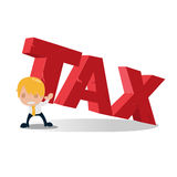 Man Carry Tax Text Heaviness  Vector Royalty Free Stock Photos