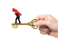 Man carrying arrow up balancing on key in dollar sign Royalty Free Stock Photos