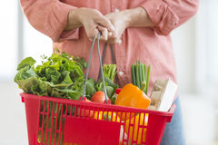Man Carrying Basket Full Of Vegetables Stock Photos