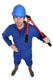 Man carrying bolt-cutter Royalty Free Stock Photography