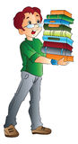 Man Carrying Books, illustration Royalty Free Stock Images