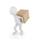 Man carrying box. 3D man carrying Fragile cardboard box behind the back Stock Photography