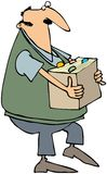 Man Carrying A Box Of Files. This illustration depicts a man carrying a box of file folders Royalty Free Stock Images