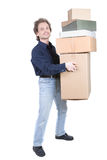 Man carrying boxes royalty free stock images