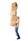 Man carrying boxes Royalty Free Stock Image
