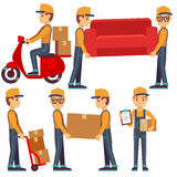 Man carrying boxes, delivery service people vector set Stock Photos