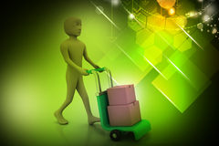 Man carrying boxes with a trolley. In color background Royalty Free Stock Photo