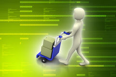 Man carrying boxes with a trolley. In color background Stock Photos
