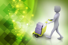 Man carrying boxes with a trolley. In color background Royalty Free Stock Image