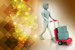 Man carrying boxes with a trolley. In color background Stock Image