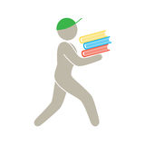 Man carrying a bunch of book Stock Photography