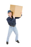 Man carrying a cardboard box stock photos